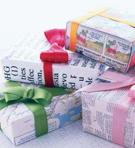 newspaper as gift wrap