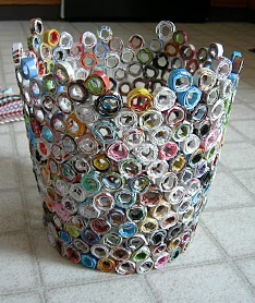 Diy recycled magazine trash can the go green blog for Waste material craft work with paper